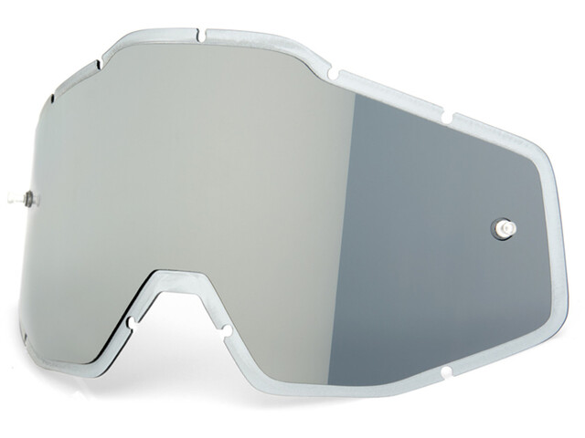100% Mirror Anti-Fog F. Injected Lenzen Racecraft/Accuri/Strata, silver flash mirror/clear an